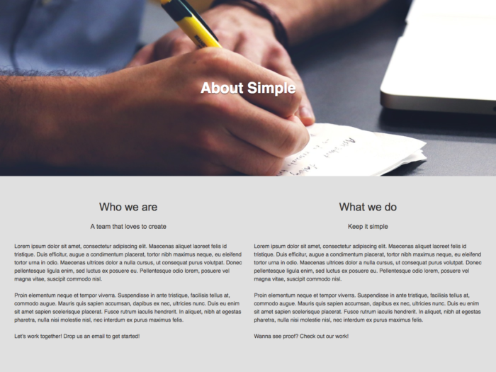 Web Design Layout About Simple
