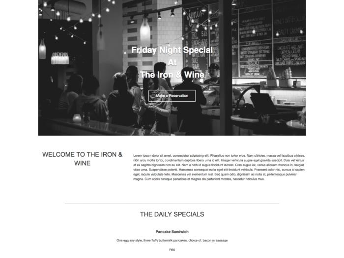 Web Design Layout Cafe Style