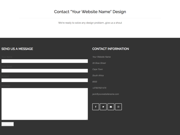 Web Design Layout Contact Design