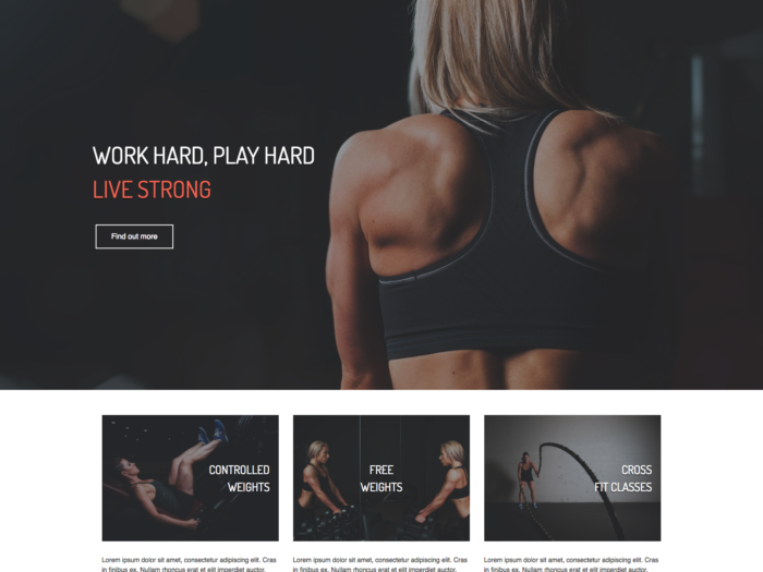 Web Design Layout Fitness Gym