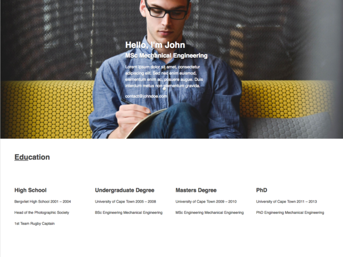 Web Design Layout My CV